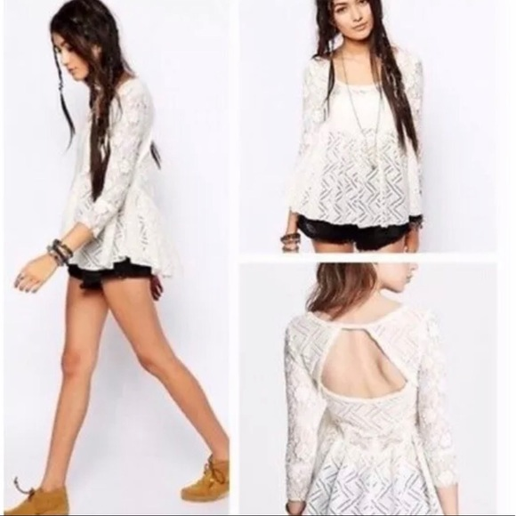 Free People Tops - Free People Gracie Babydoll Cream Lace Blouse Sz M